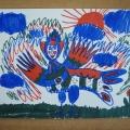 «Сказочная птица Алконост». Рисование тремя цветными маркерами в разновозрастной старшей-подготовительной группе