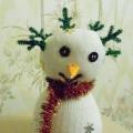 Снеговичок. Мягкая игрушка из носка