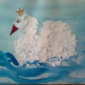 Царевна Лебедь. Обрывная аппликация с элементами рисования.