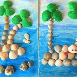 Объемная аппликация из ракушек «Остров в океане»